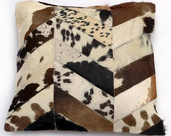 Natural Cowhide Luxurious Patchwork Hairon Cushion/pillow Cover (15''x 15'')a259