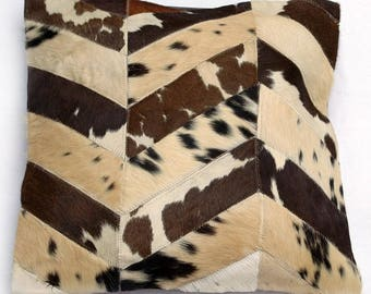 Natural Cowhide Luxurious Patchwork Hairon Cushion/pillow Cover (15''x 15'')a263