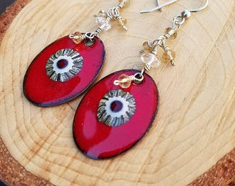 Raspberry Enamels with Murrini and Quartz on Argentium Sterling Silver, Red Dangle Earrings, Evil Eye