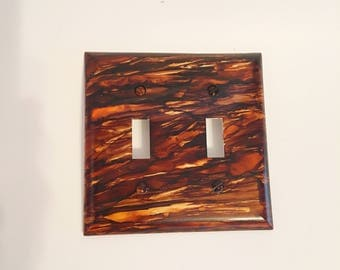 Double Switchplate, Switchplate, Brown Decor, Painted Switchplate, Wall Decor