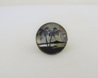 Vintage 1960s Sterling Silver Palm Tree Carved Dome Ring Size 6.5