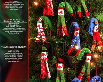 Bucilla All Bent Up 12 Pce Felt Christmas Ornament Kit 86110 Snowmen Candy Cane DIY