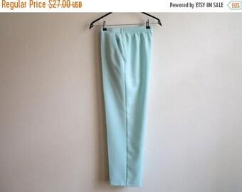 ON SALE Vintage 1980s Womens Pants Turquoise Blue Pants Elastic Waist Trousers High Waisted Pants Medium Size