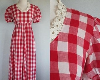 20% OFF Gingham Picnic dress. 1960s/60s red and white checkered maxi dress. Womens small empire waist.
