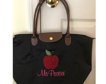 Custom Teacher Tote - Personalized - Teacher Tote - Apple Design