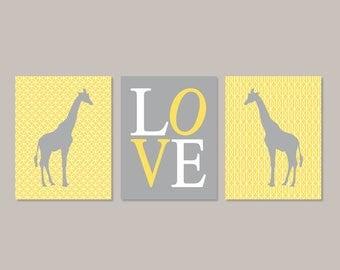 Giraffe Nursery Wall Art Yellow Gray Nursery Art  Set Of 3 Prints Or Canvas Safari Baby Animal Playroom Decor