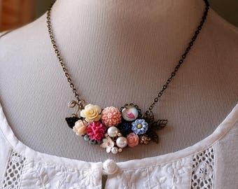 Flower assemblage necklace Bird and flower Shabby chic Vintage inspired necklace Spring necklace