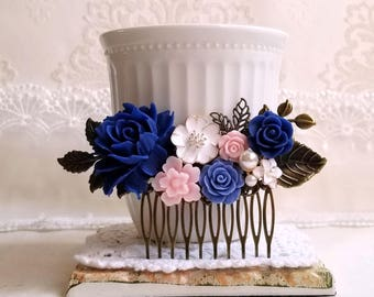 Navy blue baby pink flowers White enamel flowers Bridal hair comb Pearl assemblage Something blue