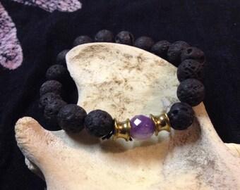 Lava Stone & Amethyst Diffuser Bracelet