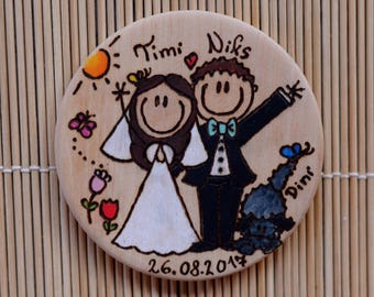 WEDDING COUPLE PERSONALIZABLE fridge magnet handmade,, wood burn, pyrography