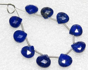 Lapis Lazuli - Faceted - 5 Matching Pairs - Heart Shape - size 8x8 mm