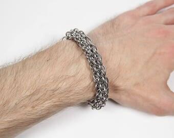 JPL7 Bracelet, Chainmaille Bracelet, Stainless Steel Bracelet, Jens Pind Linkage, Spiral Weave, Mens Bracelet, JPL Bracelet, Mens Jewelry