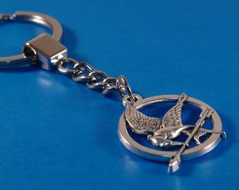 Bird Keyring, Bird And Arrow Charm Keychain, Iron Keyring, Bird And Arrow Keychain, Silver Keychain, Gift
