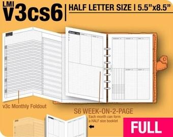 FULL [HALF size v3cs6 w/o daily] January to December 2018 -Half Letter Filofax Inserts Printable Binder Planner Midori.