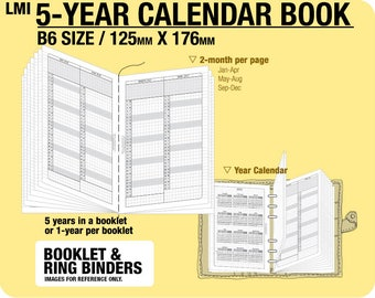 B6 5-year Calendar Book / 2018 2019 2020 2021 2022 - Inserts Refills Filofax Binder Collins