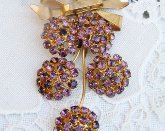 Vintage Large Pink Rhinestones Floral Flowers Dress Clip Fur Clip in Gold Tone Finish Prong Set Rhinestones Unsigned