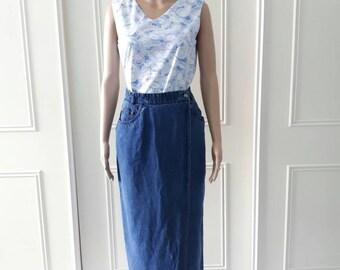 Vintage denim skirt 1990's vintage skirt vintage midi skirt blue skirt Bianca skirt wraparound skirt waist 36 (best fit a size 12)
