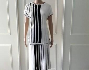 1970 vintage suit Dominant vintage suit midi skirt vintage top black white stripey suit ladies vintage suit gifts for her large size 14/16
