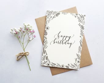 Happy Birthday Card / Modern Calligraphy / A6 Greeting Card / Floral Drawing
