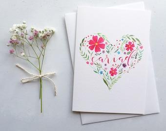 Cariad Greeting Card / Love Greeting Card / Floral Heart / Watercolour Painting / Carden Cymraeg / Dydd Santes Dwynwen / Valentine's Day
