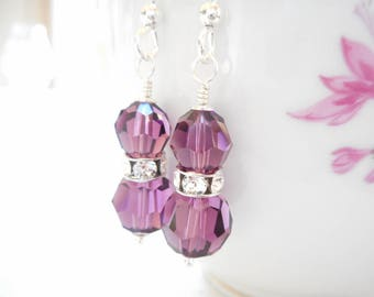 Amethyst Earrings, Swarovski Crystal Earrings, Sterling Silver Jewelry, February Birthday Gift, Birthstone Earrings, Purple Dangle Earrings