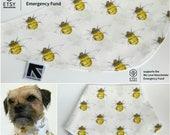 Etsy Teams 4Mcr Ivory Manchester Bee print handmade Dog Bandana Size S