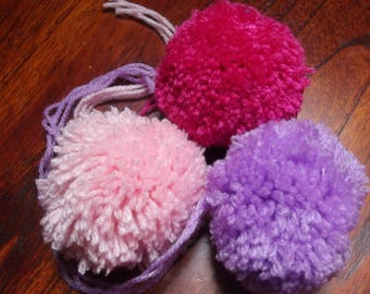 wool PomPoms 65mm diameter, in a set of 3 units