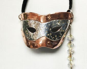Sterling Silver & copper New Orleans Mardi Gras mask pendant w/swarovski crystals