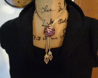 Purple Cabochon Amethyst Rhinestones Lariat Bolo Style Gold Plated Snake Chain Necklace Prom 19 inches long
