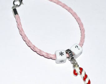 "Leather charm bracelet charm bracelet ""Christmas"" to choose"