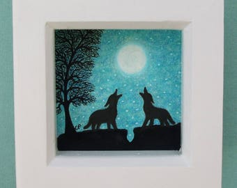 Wolf Moon Art Picture, Two Wolves Moon Stars Tree Drawing, Framed Wolf Picture, Wolf Silhouette Art, Romantic Wolves Moon Stars, Framed Art