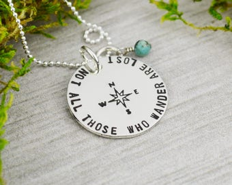 Not All Those Who Wander Are Lost Necklace in Sterling Silver - Travel Jewelry - Wanderlust - Turquoise