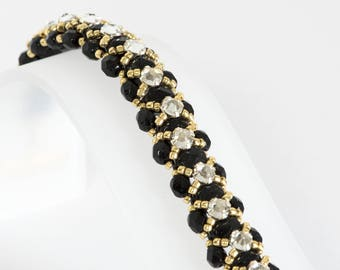 Crystal Bracelet - Seed Bead Bracelet Beadwoven in Jet Black Fire Polished Beads, Crystal Montees, Gold Seed Beads - Seed Bead Jewelry