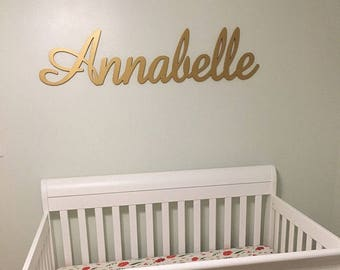 Metallic Gold Wooden Name Sign Large Personalized Nursery Name