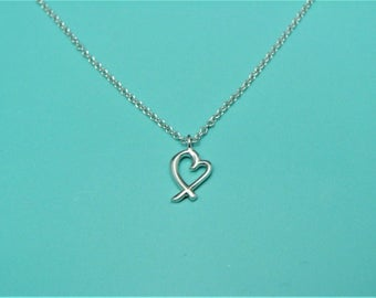 """Vintage TIFFANY & Co 925 Sterling Silver Loving Heart Necklace Picasso 16"""" Rare"""