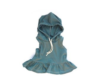 Green Ruffled Hoodie // Baby Girl + Toddler Tank // Beach Hoodie // NB - 3T