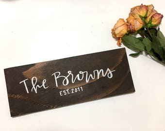 Wood Sign - Family Name Sign  - Farmhouse Sign - Custom Wood Sign - Personalized Wood Sign - Hand Lettered Wood Sign