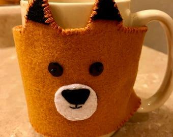 Fox Felt Coffee Mug Cozy