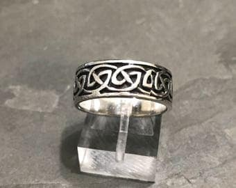 Size 9, vintage sterling silver handmade ring, Mexico 925 silver weave band with rope around details, stamped 925 PSCL