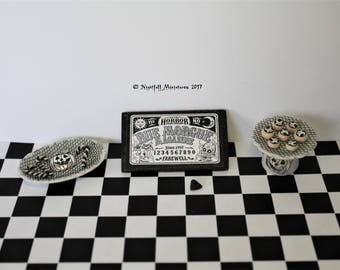 Dollhouse Miniature Halloween Cakes , candy and ouija board in 1:12 scale
