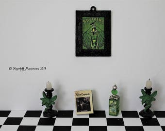 Dollhouse Miniature Absinthe Green Fairy Candlesticks Candelabras bottle and picture in 1:12 scale