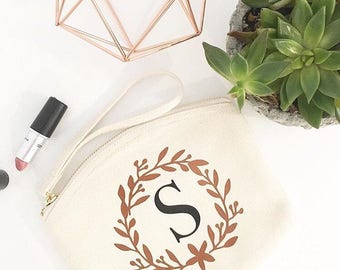 Ivory Personalised Monogram Initial Bridesmaid Gift Makeup Bag