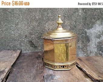 WILL SHIP AUG 23 Vintage Brass Octagon  Canister with Hinged Lid