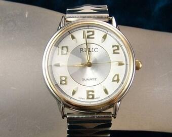 35% OFF SALE Vintage Relic Two Tone Quartz Men's Wristwatch, W/ Fancy Cut Crystal, Runs E2509