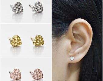 925 Sterling Silver Earrings, Hammered Heart Earrings, Gold Plated Earrings, Rose Gold Plated Earrings, Stud Earrings (Code : ED78A)