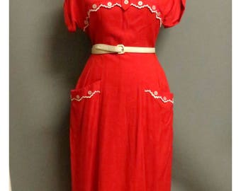 Vintage 1950s red dress  deadstock Medium
