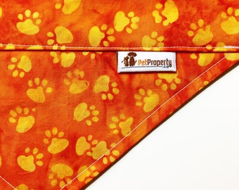 Over the Collar Pet Bandana - Dog Bandana - Cat Bandana - Bandana - Paws Orange Yellow Color