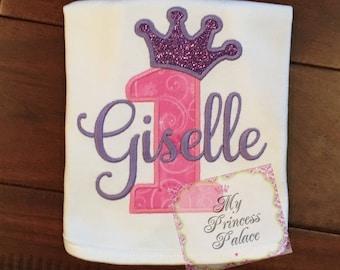 Personalized Princess Crown 1st Birthday Bib