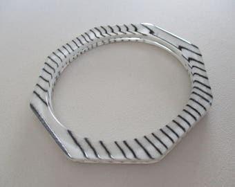 Vintage Layered Lucite Octagon Bangle Bracelet White Black Stripe Free Shipping