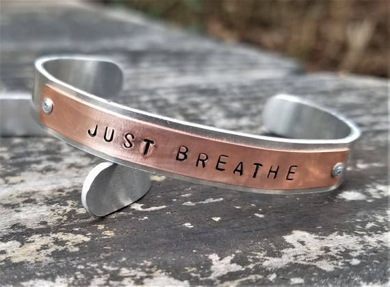 JUST BREATHE: Hand Stamped Two-Tone Metal Cuff Bracelet, Copper & Aluminum